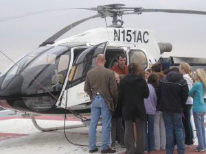 Crowd around helicopter