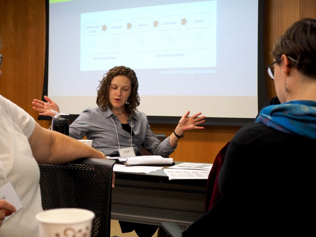 Hannah Vander Kopsa from the Crisis Intervention & Advocacy Center in Adel participates in group work at the evaluation training at the UI College of Public Health.
