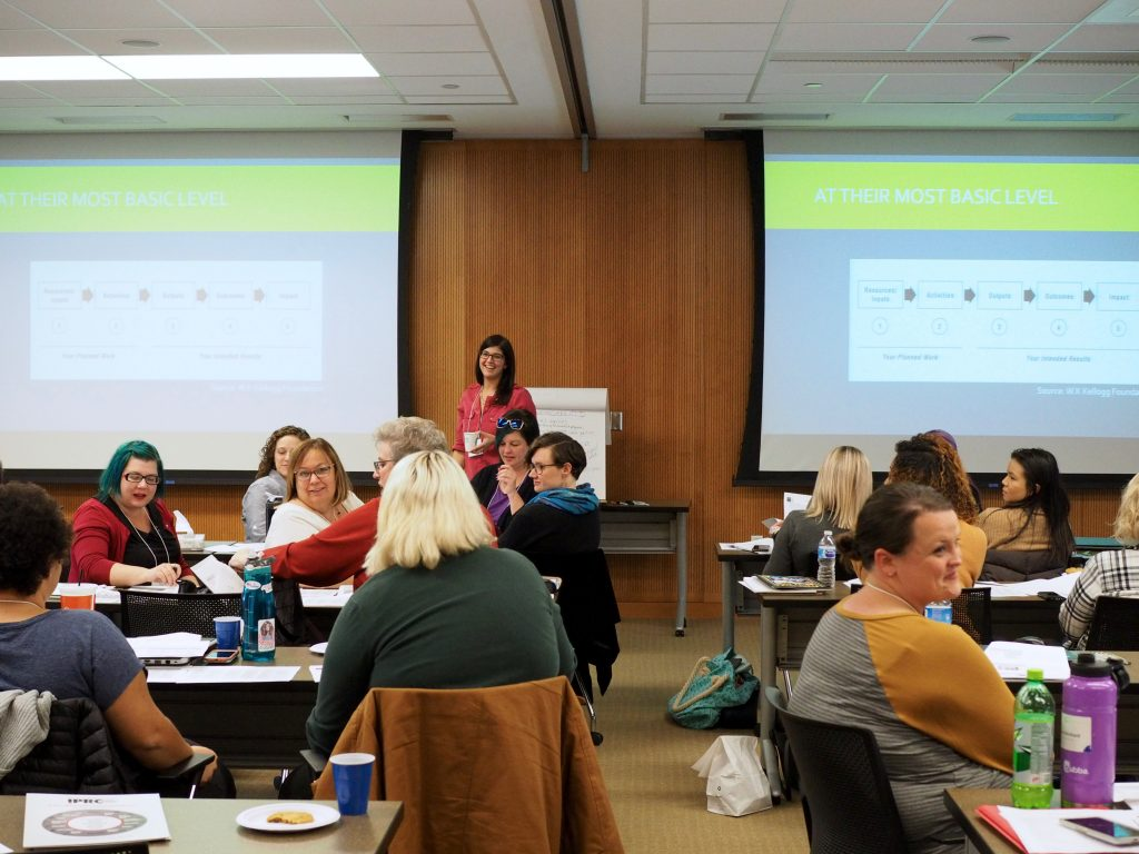 Anne Abbott, co-evaluator of the state RPE program, helps lead the evaluation training at the UI College of Public Health.