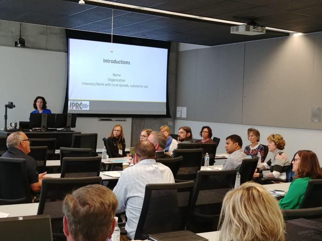 UI IPRC Associate Director Carri Casteel leads the rural overdoses stakeholder meeting in Des Moines, September 23, 2019.