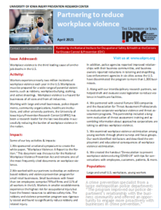 UI IPRC success story: Partnering to reduce workplace violence